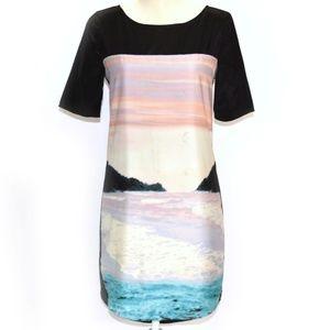 PJK Beach Graphic Colorblock Shift Dress